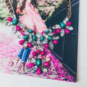 Jewelry - Pink, Green & Crystal Statement Necklace